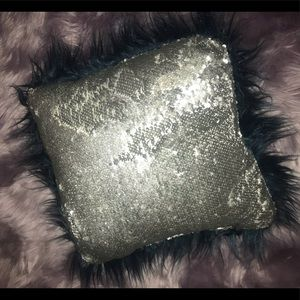 Sequin and faux fur throw pillow